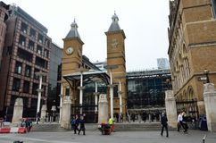 LIVERPOOL ST LONDON UK   External view of Liverpool St Rail station Royalty Free Stock Photography