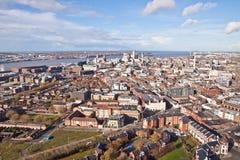 Liverpool-Stadtzentrum - Antenne Stockbild