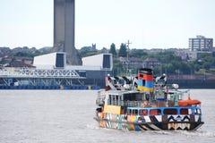 Liverpool-Stadtzentrumaussicht vom Fluss Mersey lizenzfreie stockfotografie