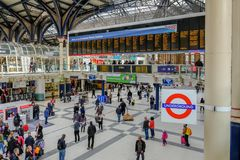 Inside Liverpool Street Station. Liverpool Street, London, UK - April 6, 2018: Aerial shot of the concourse at Liverpool Street mainline station with an Stock Photos