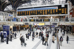 Liverpool Street Station. London, UK - December 12, 2011:  Inside view of Liverpool Street Station, located in City of London, since 1874, third busiest railway Royalty Free Stock Photos