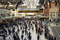Liverpool Street Station. London, UK - 14 June 2013: Liverpool Street Station in London where you can see large amounts of people doing various things, such as Stock Image