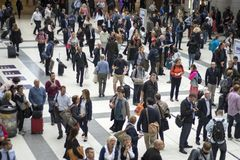 Liverpool Street Station at Rush our in the morning showing many people moving around royalty free stock images