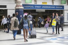 Liverpool Street Station Station. Some people are waiting for the train. People leave the station. LONDON, ENGLAND - August 20, 2017 Liverpool Street Station royalty free stock image