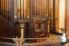 LIVERPOOL 25TH JANUARY 2016 organ inside St Georges Hall. The organ was built by Henry Willis and completed in 1855 Royalty Free Stock Photos