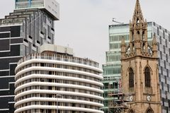 Liverpool tower. Church tower among modern buildings, Liverpool, UK Stock Images