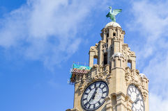 Liverpool, UK - 03 April 2015 - Clock tower of Royal Liver Building stock photos
