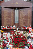 Liverpool, UK, April 15 2014 - Flowers laid to commemorate the 2 Stock Images