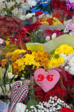 Liverpool, UK, April 15 2014 - Flowers laid to commemorate the 2 Stock Photos