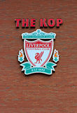 Liverpool, UK, April 21st 2012. Liverpool football club crest,. On the Kop entrance to the stadium Stock Images