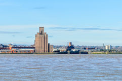 Liverpool, UK - 03 April 2015 - View of Birkenhead skyline across the Mersey river Royalty Free Stock Images