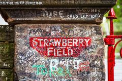 Strawberry Field sign in Liverpool, UK. Liverpool, UK -August, 09, 2018: The sign for Strawberry Field in Liverpool . The place became fanmous by song Strawberry royalty free stock image