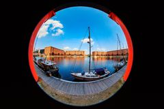 View of the Albert Dock in the Liverpool city centre. Royalty Free Stock Photos