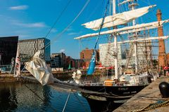 Sailing ship in the Albert Dock of Liverpool. Royalty Free Stock Photo