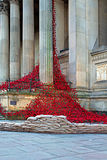 LIVERPOOL UK, DECEMBER 8TH 2015 Gråta fönstret Poppy Sculpture Royaltyfria Bilder