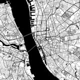 Liverpool, UK, Downtown Vector Map. Liverpool Downtown Vector Map Monochrome Artprint, Outline Version for Infographic Background, Black Streets and Waterways royalty free illustration