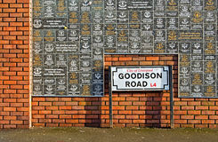 LIVERPOOL UK JANUARY 8TH 2016. Goodison Road Sign and wall of fa Stock Photo