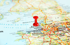 Liverpool UK  map pin Stock Photo