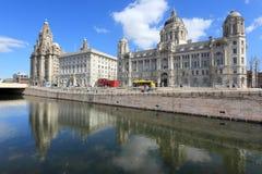 Liverpool UK. Pier Head historic district. UNESCO World Heritage Site stock images