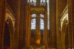 Liverpool, UK Wewnętrzny widok Liverpool katedra - 03 2015 Kwiecień - Obraz Stock