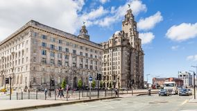 Streetview Royal LIver building in Liverpool stock photo