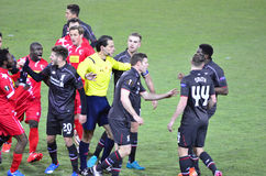 Liverpool vs Sion. SION, SWITZERLAND - DECEMBER 10: General fracas between Liverpool and Sion in the Europa League Cup, December 10, 2015 in Sion, Switzerland royalty free stock photo