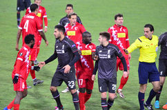 Liverpool vs Sion. SION, SWITZERLAND - DECEMBER 10: General fracas between Liverpool and Sion in the Europa League Cup, December 10, 2015 in Sion, Switzerland stock images
