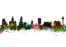 Liverpool. Watercolor art print of the Skyline of Liverpool Royalty Free Stock Photo