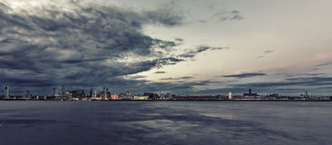 Liverpool Waterfront cloudy evening sunset Stock Image