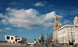 Liverpool waterfront, old and modern. Buildings 2012 royalty free stock photography