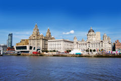 Liverpool waterfront. With river Mersey in foreground stock photo