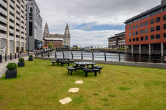 Liverpool waterfront. Seating at the liverpool waterfront for office workers royalty free stock image