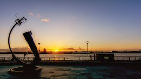 Liverpool  - Waterfront sunset. Liverpool Pierhead home of the famous Liver building Royalty Free Stock Photos