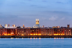 Liverpool waterfront,Warehouses-England UK royalty free stock photo