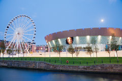 Liverpool Wheel and Echo Arena at Night Stock Photography