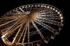 Liverpool wheels on night royalty free stock photo