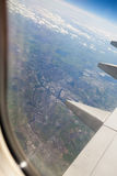 Liverpool widok od samolotowego okno Obrazy Royalty Free