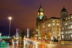 Liverpools historiska strandbyggnader Arkivfoton