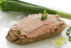 Liverwurst bread Royalty Free Stock Photography