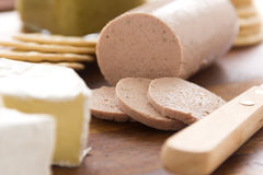 Liverwurst and Camembert Stock Photography