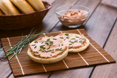 Liverwurst Spread on Bun Stock Photography