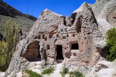 Lives and churches carved in the rocks area Toganli, Turkey Stock Photography