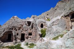 Lives and churches carved in the rocks area Toganli, Turkey Stock Images
