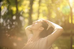 Lives free. Beauty woman in nature royalty free stock photos