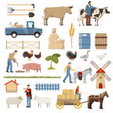 Livestock Farm Elements Collection. Farm set with flat isolated images of poultry animals gardening tools plants vehicles and human characters vector Royalty Free Stock Photography