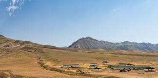 Livestock farm in the highlands. Scenery stock photo