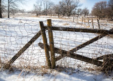 Livestock Fencing. Cattle fence post during the winter Stock Images