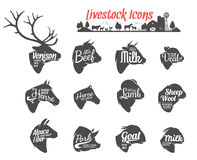 Livestock Icons Collection. Livestock Labels Templates Stock Image