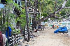 Livet av invånarna av det filippinska fiskeläget Royaltyfria Foton