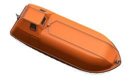Livfartyg för räddningsaktionen som isoleras på vit Arkivfoto